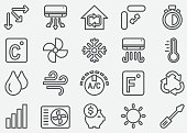 Air Conditioning Line Icons