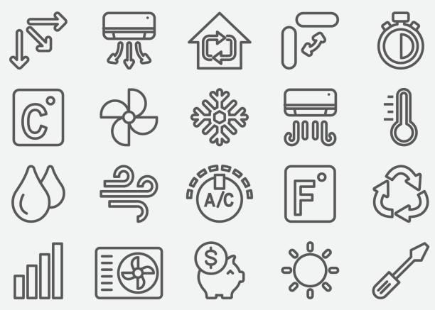 ilustrações, clipart, desenhos animados e ícones de ícones de linha de ar condicionado - ar condicionado