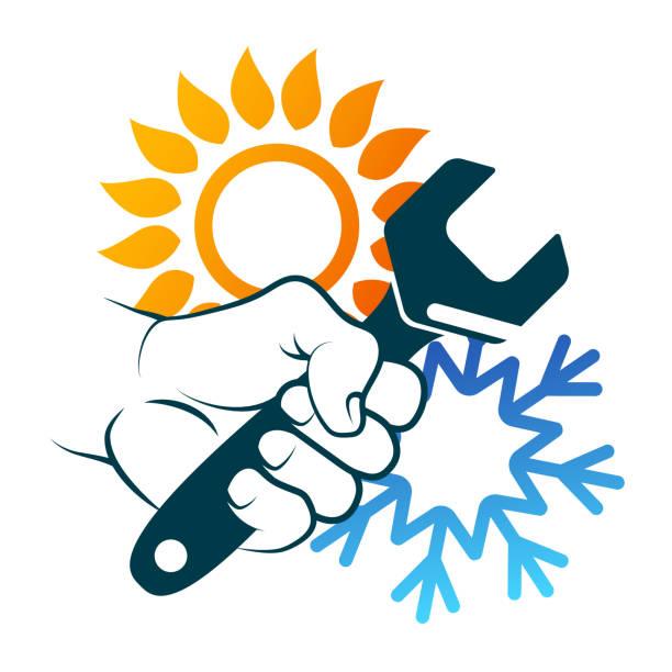 Air conditioning repair and maintenance vector art illustration