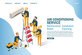 Air conditioning service vector website template, web page and landing page design for website and mobile site development. Isometric technicians installing air conditioner. Maintenance and repair.