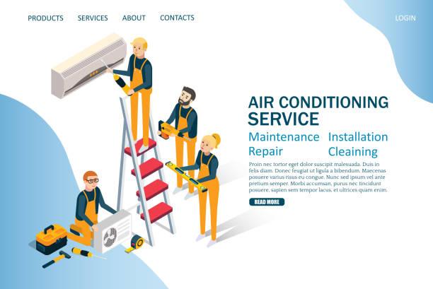 ilustrações, clipart, desenhos animados e ícones de ar condicionado serviço vector website landing page modelo de projeto - ar condicionado