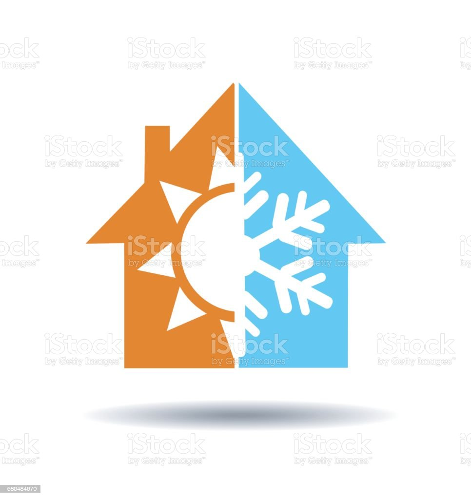 Air conditioning symbol - warm and cold in home vector art illustration