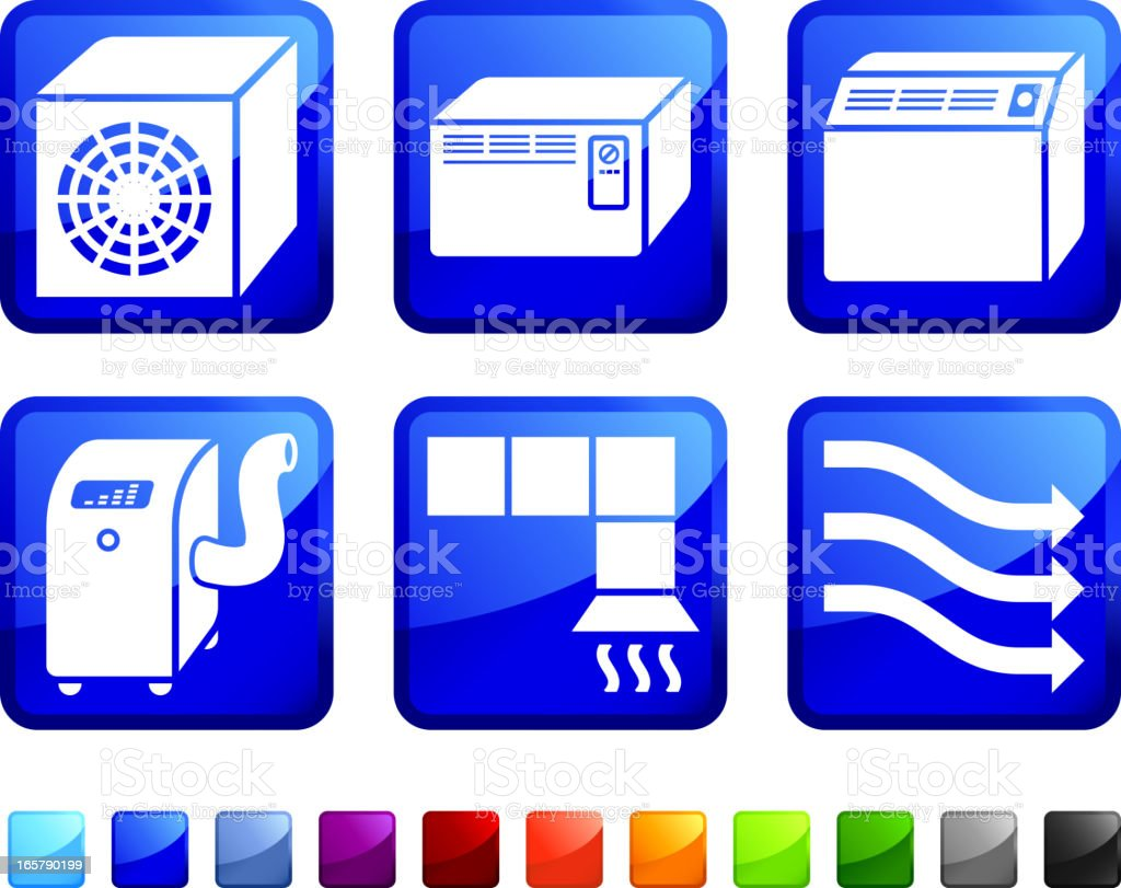 Air Conditioning System royalty free vector icon set stickers royalty-free stock vector art
