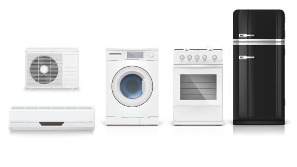 エアコン、洗濯機、ガスコンロ、黒冷蔵庫、リアルな影や反射を分離の 3 d 図です。白い背景に家電製品のアイコンを設定します。 - エアコン点のイラスト素材/クリップアート素材/マンガ素材/アイコン素材