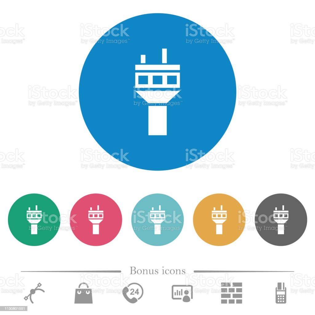Air Control Tower Flat Round Icons Stock Illustration - Download