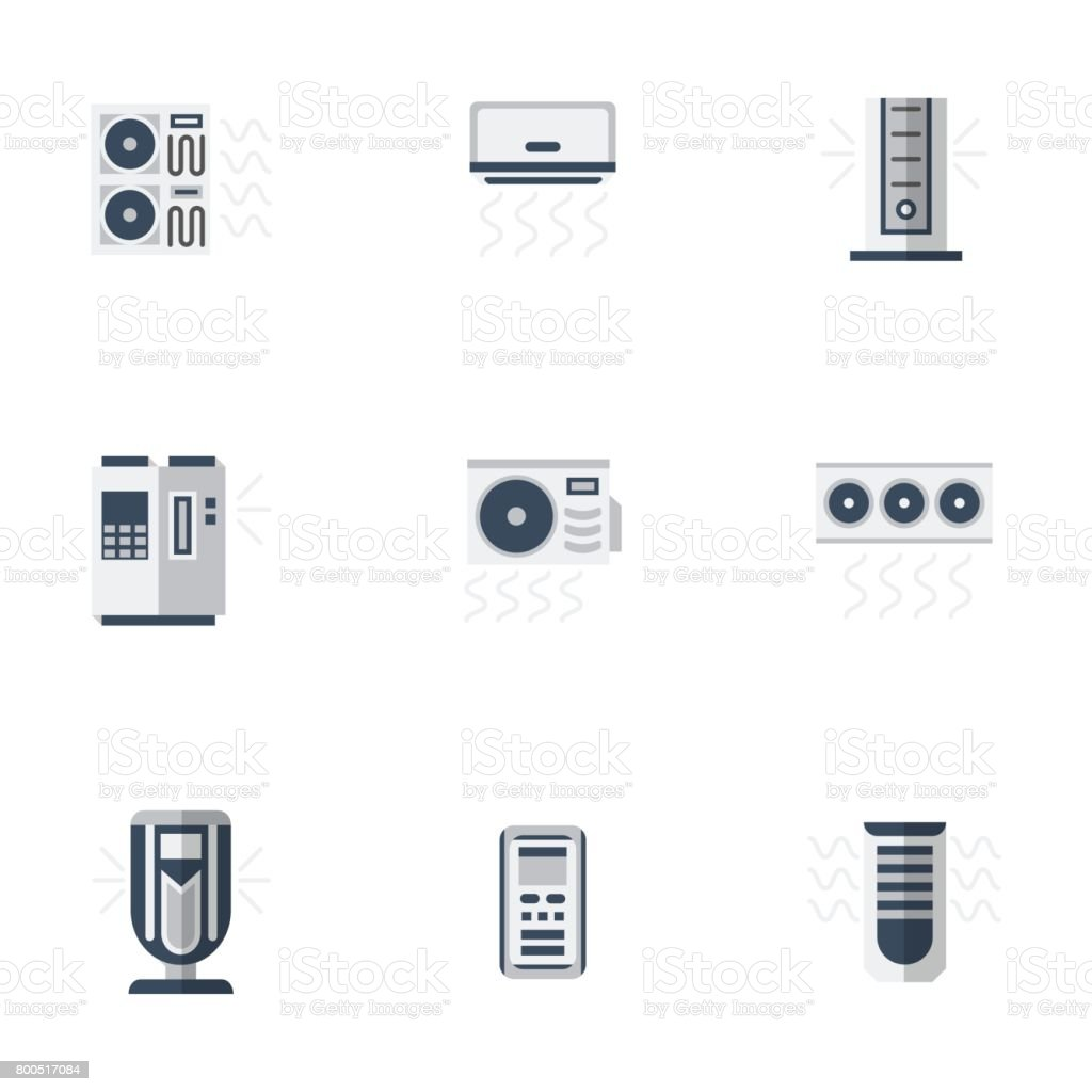 Air cooling equipment color flat vector icons set vector art illustration