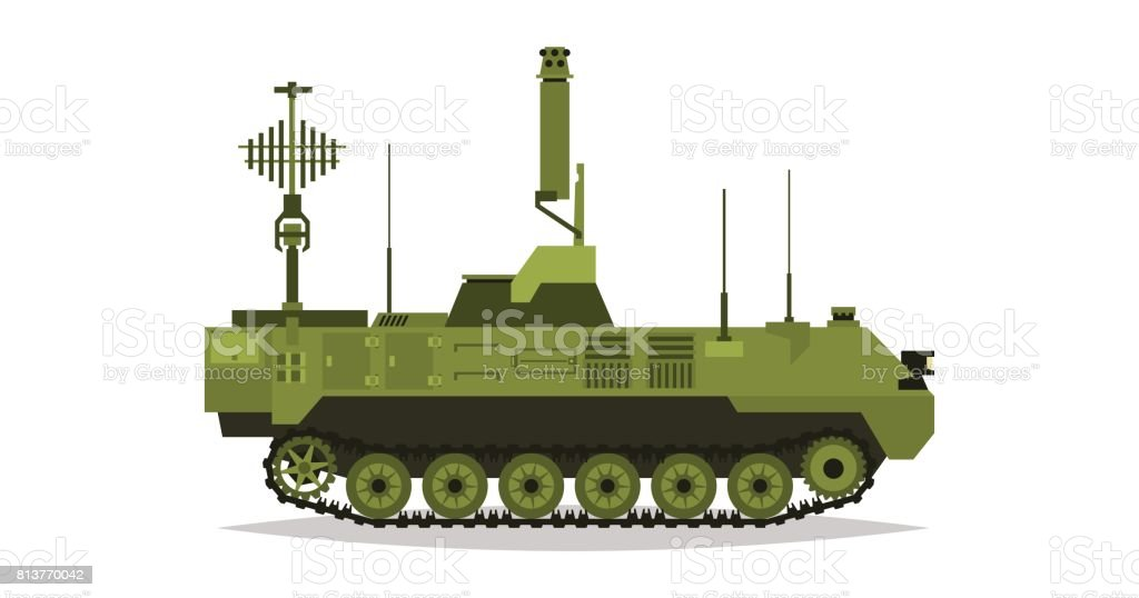 Air defense control system. Broadcasting, satellite communication. Antennas, receivers. Determining enemy locations. Special military equipment. All Terrain Vehicle, heavy vehicles. vector art illustration