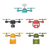Set of quadcopter aerial drones with different functions: surveillance, delivery, medical, military. Flat vector illustration.