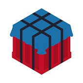Air drop box from the game PlayerUnknowns Battlegrounds. PUBG. Isometric container. Battle royal concept. Clean and modern vector illustration for design, web.