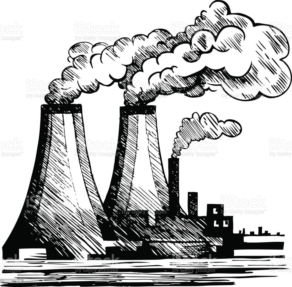 Air Ecology and the problem of air pollution. vector art illustration