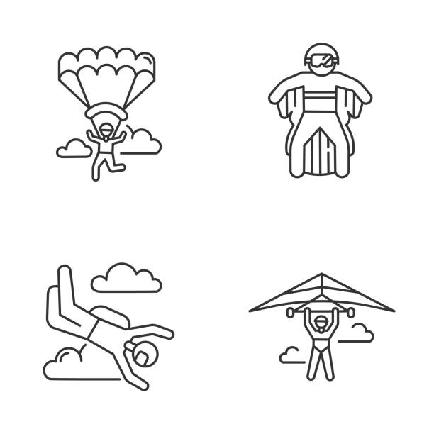ilustrações, clipart, desenhos animados e ícones de ícones lineares de esportes radicais aéreos definidos. asa delta, paraquedismo, roupa de asa e parapente. atividades ao ar livre. símbolos de contorno de linha fina. ilustrações isoladas do contorno vetorial. traçado editável - ícones de design planar