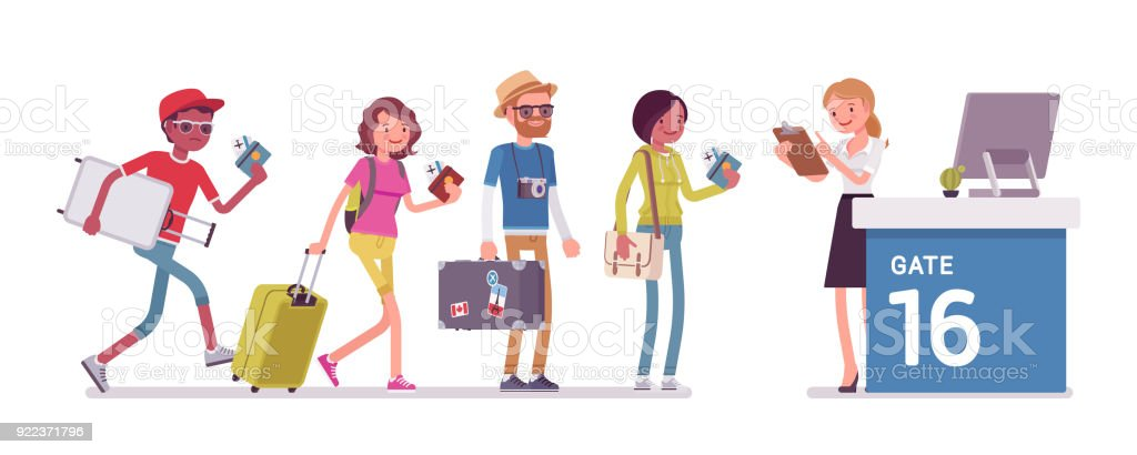Air flight check queue vector art illustration