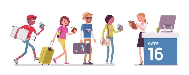 illustrations, cliparts, dessins animés et icônes de file d'attente des vérification de vol aérien - passager