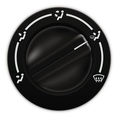 Air flow selector. Car dashboard black switch
