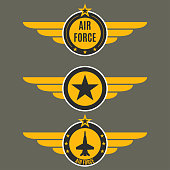 Air force badge set. Airforce logo with wings and star. Army and military emblem. Vector illustration.