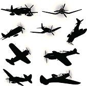 "Tight silhouette illustrations of the American World War Two Air Force Fighter Planes. Planes identified on layers. Check out my ""Mode of Transportation"" light box for more."