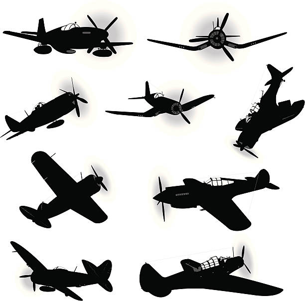 us air force fighter planes - world war two - world war ii stock illustrations, clip art, cartoons, & icons