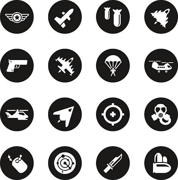 에어제스처 완력 아이콘-블랙 서클 시리즈 - 낙하산 항공 비행체 stock illustrations