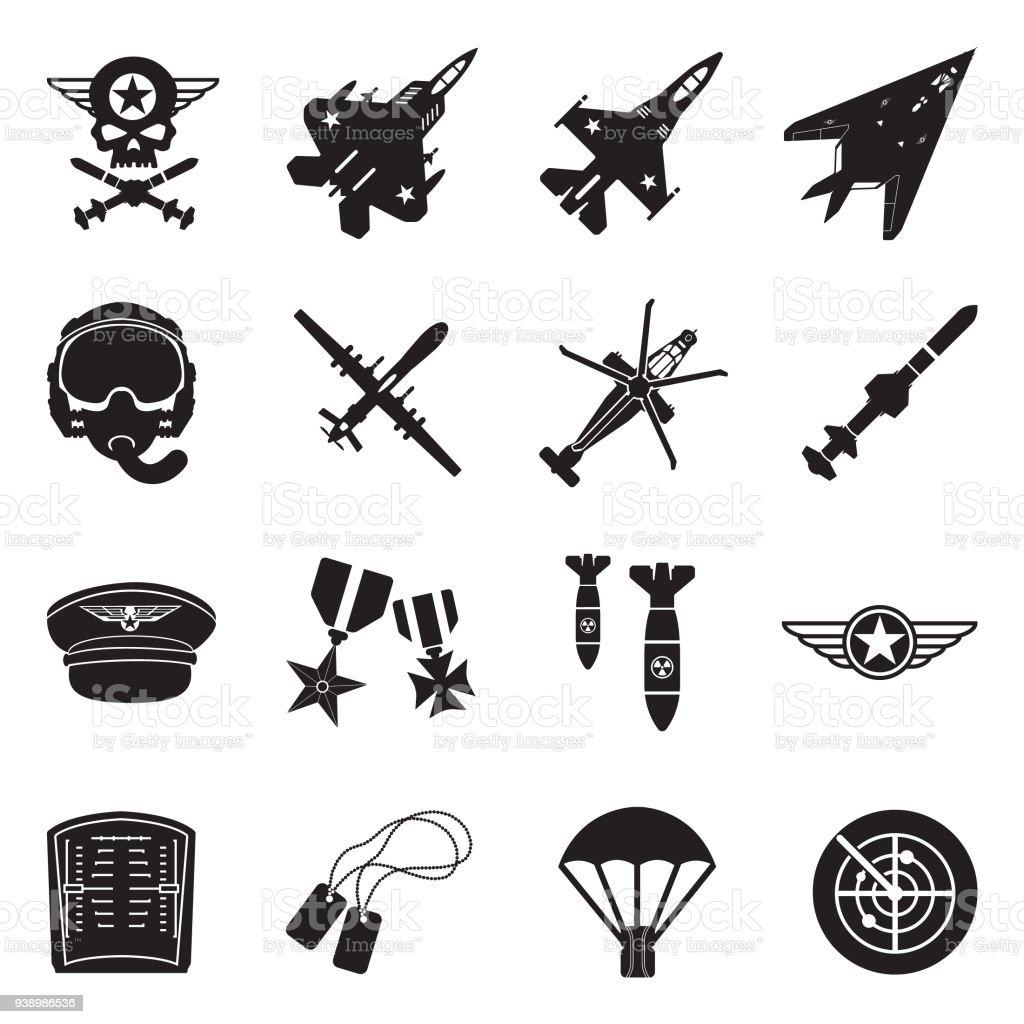 Download Air Force Icons Black Flat Design Vector Illustration ...