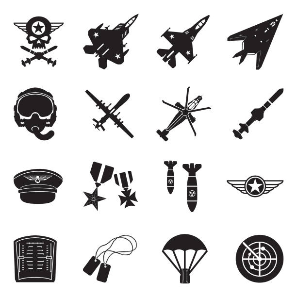 Air Force Icons. Black Flat Design. Vector Illustration. Chopper, Aviator, Sky, Combat. air force stock illustrations
