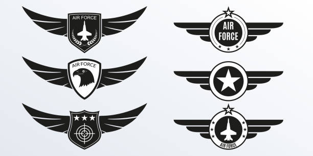 Air Force logo with wings, shields and stars. Military badges. Army patches. Vector illustration. Air Force logo with wings, shields and stars. Military badges. Army patches. Vector illustration. air force stock illustrations