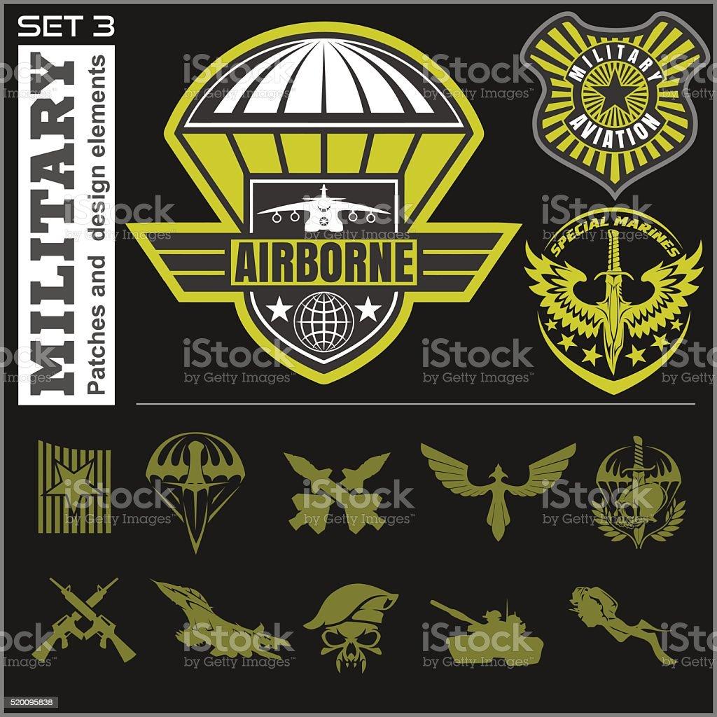 air force military emblem set vector design template stock vector