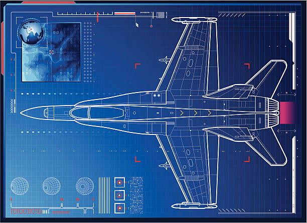 air force monitoring High detailed Fighter Plane monitoring connecting  throw global system, with radar and topographic map. air force stock illustrations