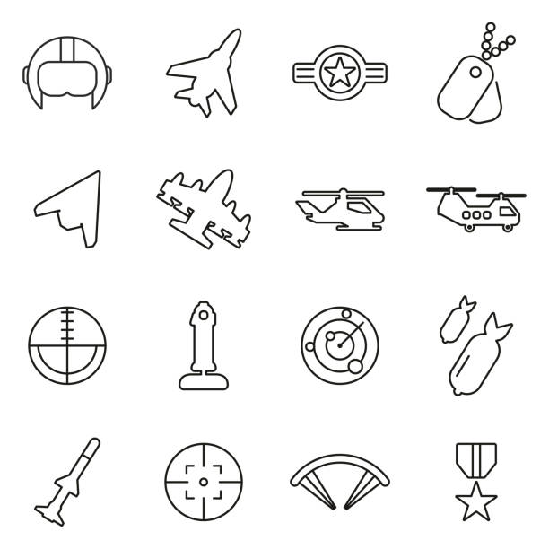 Air Force or Military or Army Icons Thin Line Vector Illustration Set This image is a vector illustration and can be scaled to any size without loss of resolution. air force stock illustrations