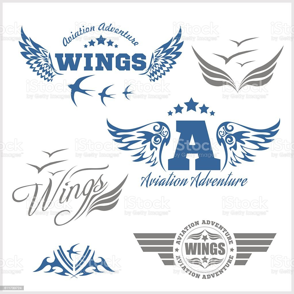 Air Force shields and labels with wings vector art illustration