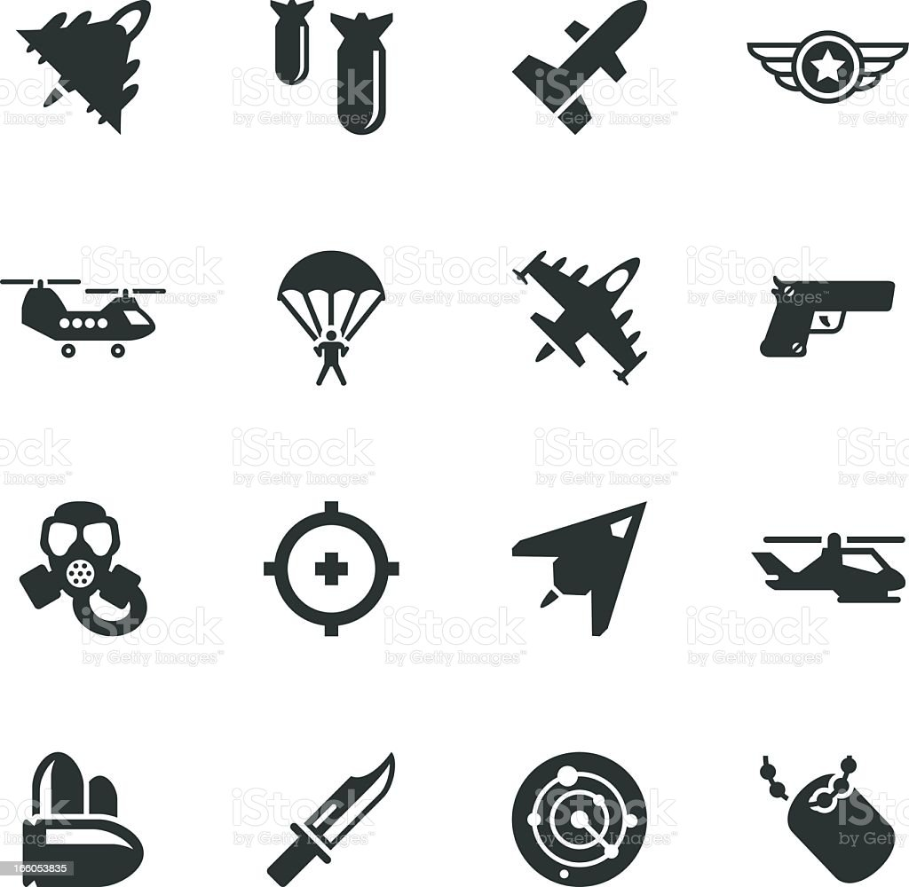 Air Force Silhouette Icons vector art illustration