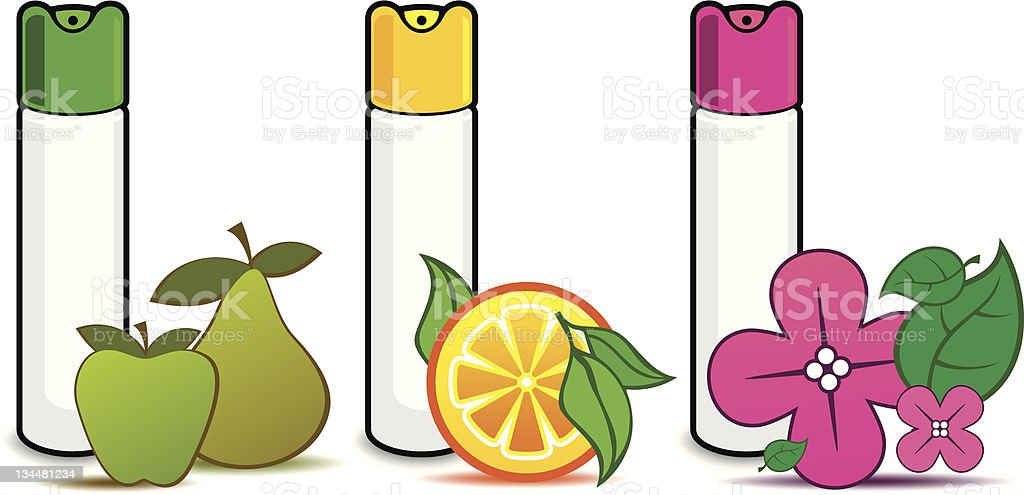 air fresheners with fruit vector art illustration