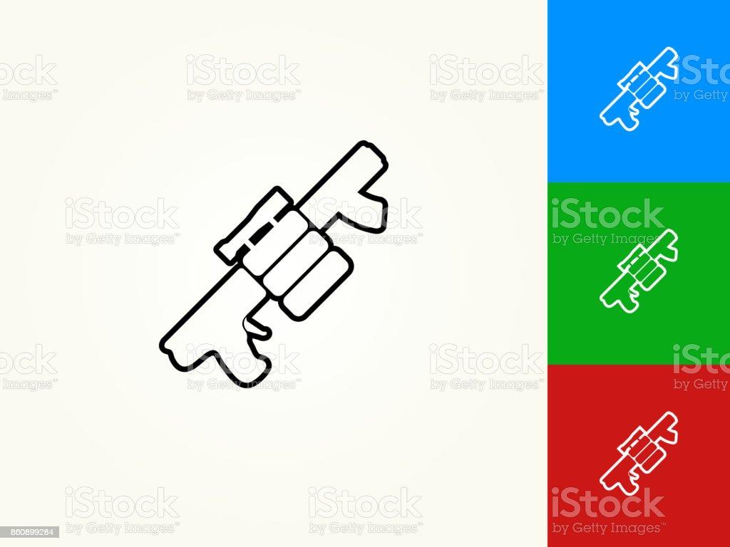 Air Gun and Spare Bullets Black Stroke Linear Icon vector art illustration