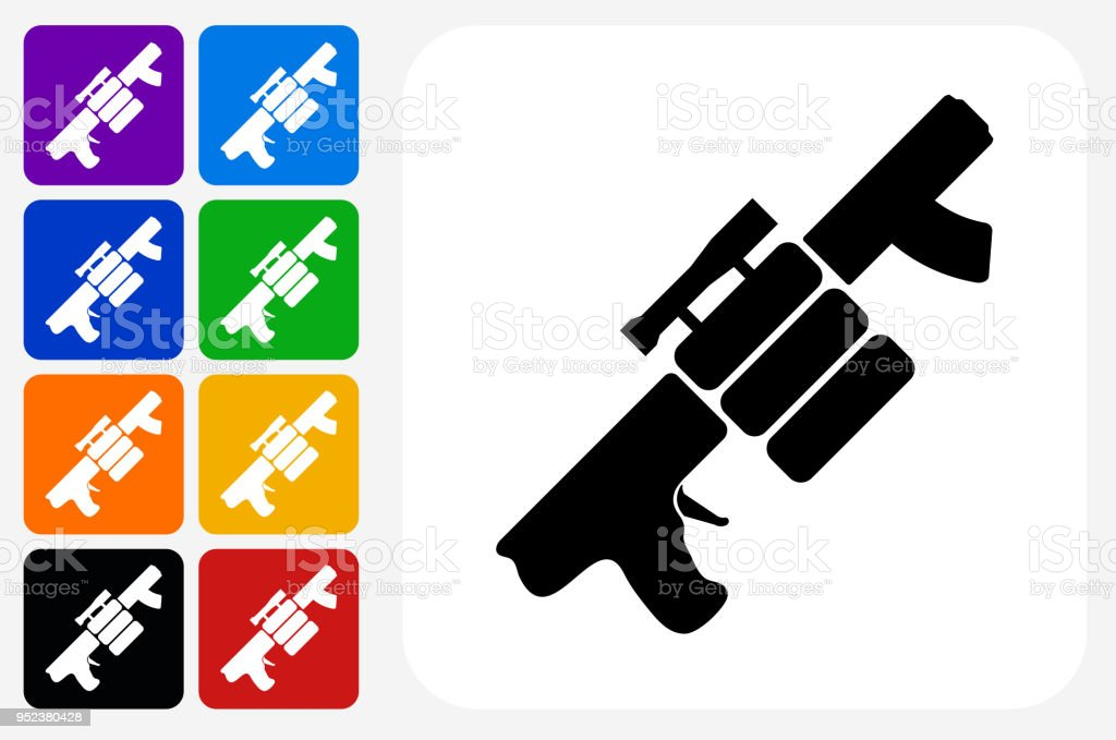 Air Gun and Spare Bullets Icon Square Button Set vector art illustration