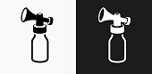 Air Horn Pump Icon on Black and White Vector Backgrounds