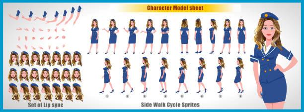 stockillustraties, clipart, cartoons en iconen met air hostess meisje teken model blad met wandeling cyclus animatie sprite en lip syncing - stewardess