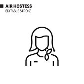 istock Air Hostess Line Icon, Outline Vector Symbol Illustration. Pixel Perfect, Editable Stroke. 1192148588