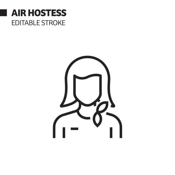 stockillustraties, clipart, cartoons en iconen met air hostess lijn pictogram, overzicht vector symbool illustratie. pixel perfect, bewerkbare lijn. - stewardess