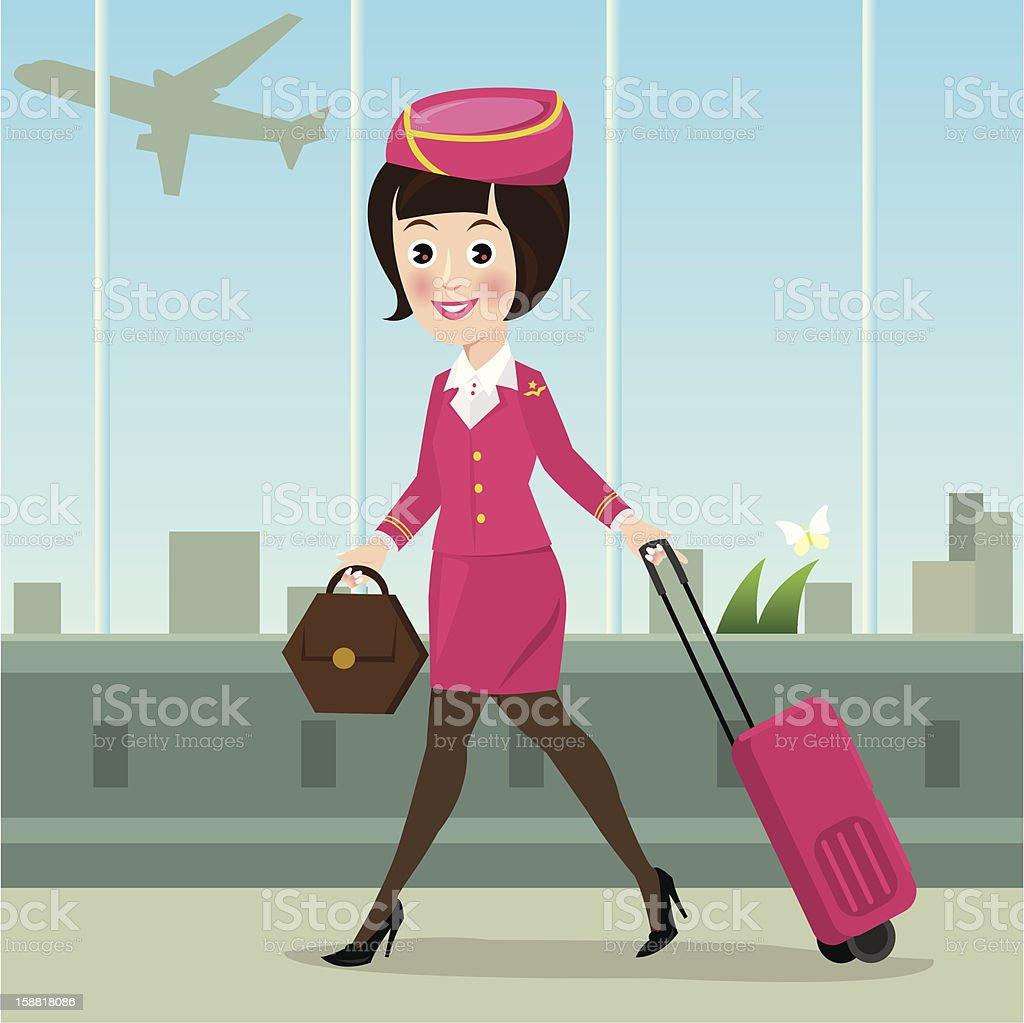 Air Hostess royalty-free stock vector art