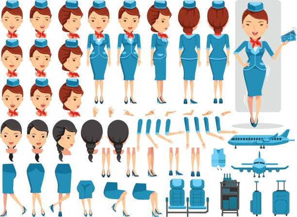 illustrazioni stock, clip art, cartoni animati e icone di tendenza di air hostess - organizzatore della festa