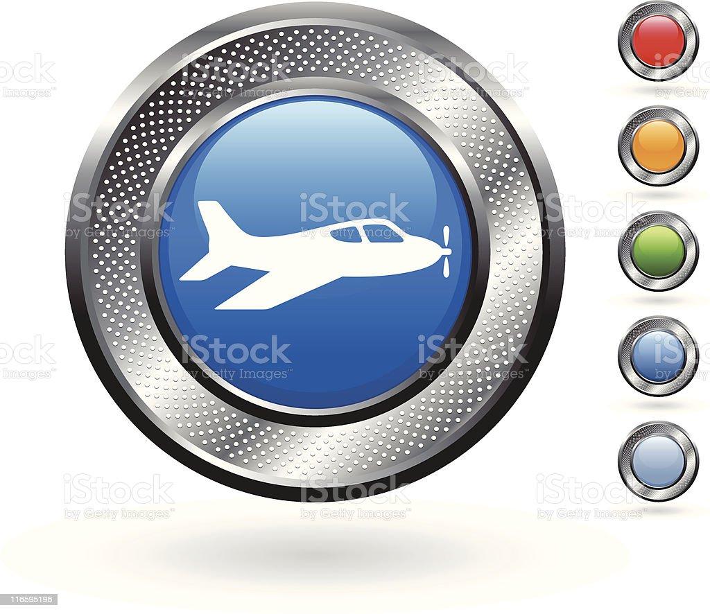 air jet royalty free vector art on metallic button royalty-free stock vector art