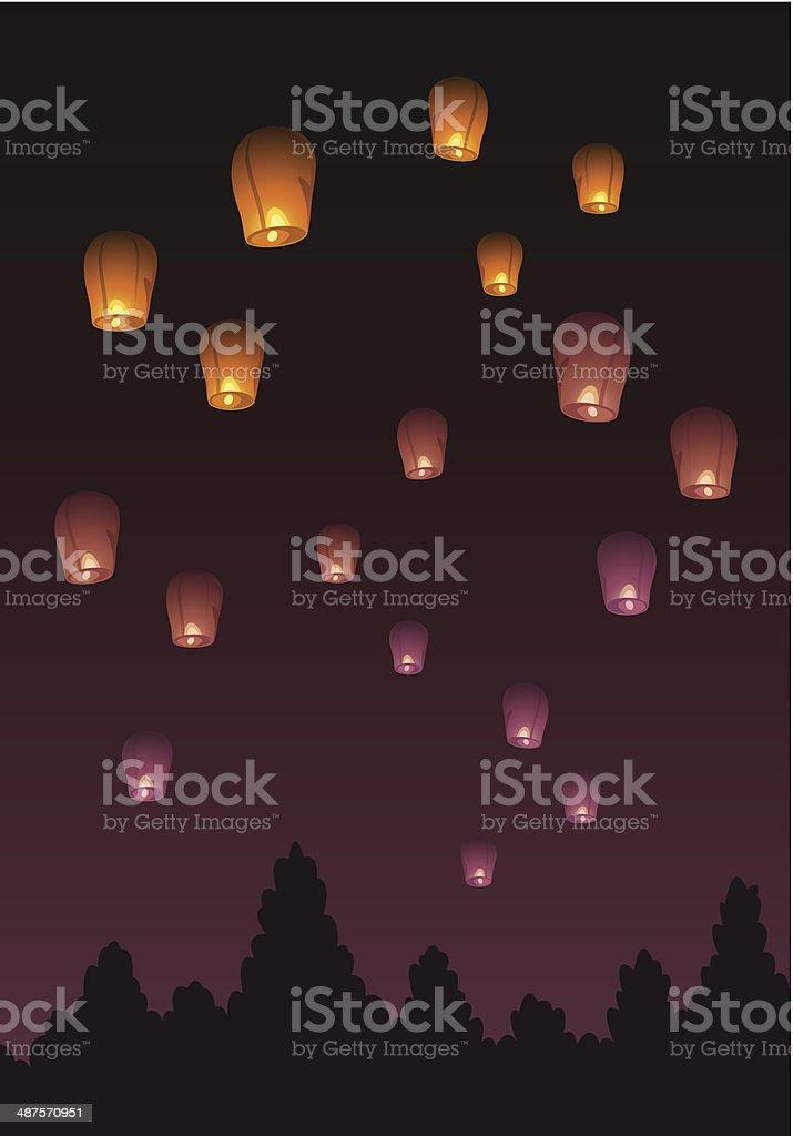 Air lanterns vector art illustration