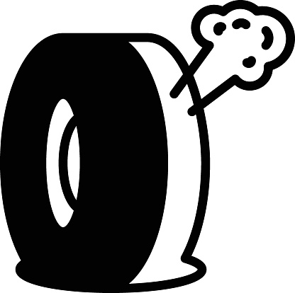 Air Leak Tire Concept, Valve Stem Leaked vector Glyph Icon Design, Tire Repair and Auto Shop Equipment on White background,  Blasted Wheel Sign