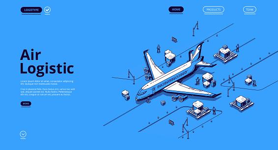 Air logistics isometric landing airplane transport