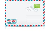 Vector illustration of an air mail envelope. File is organized in layers. Vector EPS10 file. Contains transparency element.