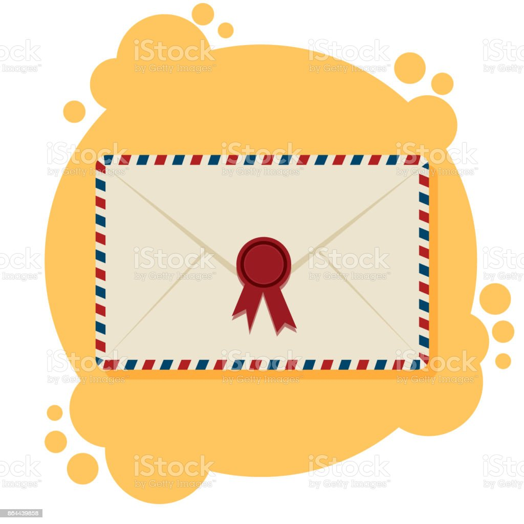air mail envelopes postal stamps on the yellow and white background
