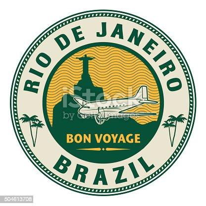 Air mail or travel stamp, Rio de Janeiro, Brazil theme, vector illustration