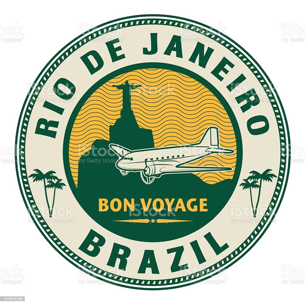 Air mail or travel stamp, Rio de Janeiro vector art illustration