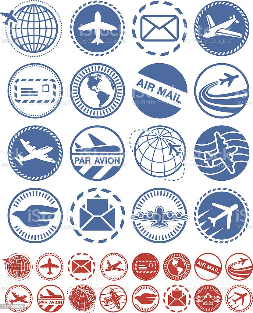 Air mail - Seals Collection royalty-free air mail seals collection stock vector art & more images of air mail