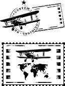 air mail stamp with world map