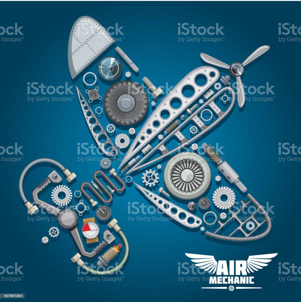 Air mechanic design with propeller airplane vector art illustration